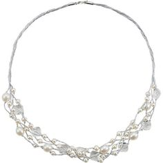 Sterling Silver Freshwater Cultured Pearl & Crystal Necklace