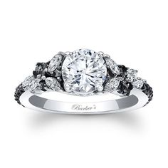 An exquisite black and white diamond engagement ring, featuring a white gold shank with a round diamond center. The cathedral shoulders are adorned with white marquise cut diamonds, while small round, black diamonds accent the shoulders. Black Diamond Engagement, Vintage Engagement Rings, Morganite Engagement, Bling Bling, Diamond Rings, Diamond Jewelry, Marquise Cut Diamond, Oval Diamond, Diamond Wedding Rings