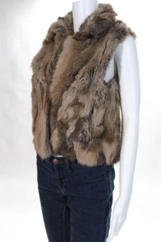 Adrienne-Landau-Brown-Rabbit-Fur-Crew-Neck-2-Pocket-Vest-Size-Small