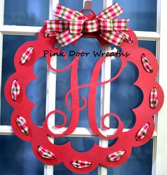 Door hanger DOOR WREATH MONOGRAM initial vine by PinkDoorWreaths