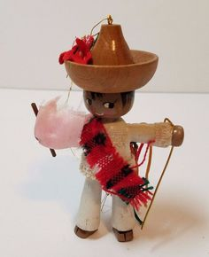 Vintage Christmas Tree Decoration Ornament Wood Mariachi Mexican Mexico Dancer