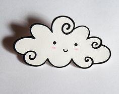 Happy cloud - Handmade shrink plastic brooch, pin, OOAK