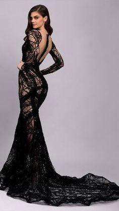 Black Wedding Dresses, Elegant Dresses, Sexy Dresses, Fashion Dresses, Prom Dresses, Formal Dresses, Black Gowns, Black Lace Gown, Fashion Week