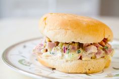 Ham Salad ~ Leftover ham? Make a simple ham salad with diced ham, hard boiled eggs, sweet pickle relish, mayo, onion, celery, bell pepper, and mustard.  ~ SimplyRecipes.com