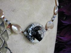 Items similar to Custom Order - Raven, Mother of Pearl & Moonstone Necklace: Raven of Silvery Forest on Etsy Wild Ginger, Mother Of Pearl Necklace, Copper Accents, Angry Birds, Ravens, Wearable Art, Swarovski Crystals, Pearls, Stone