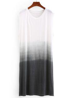 Grey Ombre Drop Armhole Shift Dress
