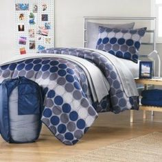"Boy Blue Gray Dot Plaid Grid Dorm College Twin Xl Comforter Set (10 pc Room in a bag) :           Twin XL - Light Weight Comforter 63""Wx92""L, Bedskirt 39""Wx80""L, One Standard Pillow Sham 20""Wx26""L, One Standard Pillowcase 20""Wx30""L, Flat Sheet 66""Wx100""L and Fitted Sheet 39""Wx80""Lx12""D                           **Read more Details : http://gethotprice.com/appin/?t=B0079ZW3UO"