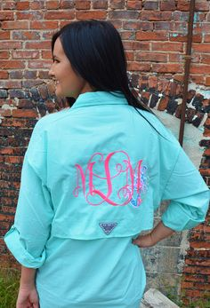b523df8193 Preppy Monogrammed Columbia PFG Fishing Shirt With Lilly Pulitzer Anchor  Accent Cover Up