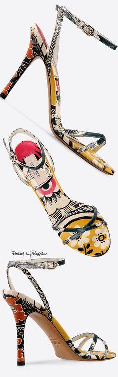 Valentino ~ Ankle Strap Sandal Heels, Floral, 2015 via Regilla