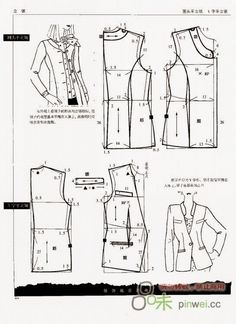 Illustration for jacket pattern drafting - If you click the arrow to the left, a few times you will find more illustrations for jackets. Dress Making Patterns, Coat Patterns, Clothing Patterns, Sewing Patterns, Doily Patterns, Blazer Pattern, Jacket Pattern, Sewing Coat, Sewing Clothes