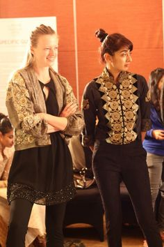 Models Anastasia Kuznetsova & Binal Trivedi wearing Ritu Kumar label at the Lakme Fashion Week. #India #Fashion #Style