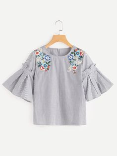 Shop Embroidered Flower Applique Pleated Bell Sleeve Top online. SheIn offers Embroidered Flower Applique Pleated Bell Sleeve Top & more to fit your fashionable needs.