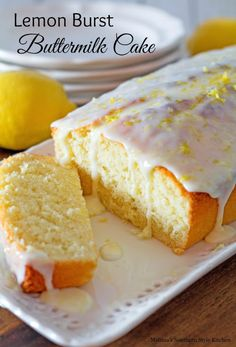 The bright flavor of lemon in this sweet and tangy lemon burst buttermilk cake is a flavor combination that's universal. It's one of those desserts that will brighten the dreariest of days ideal served just as it is for brunch with a cup of coffee or ho Dessert Simple, Lemon Desserts, Easy Desserts, Lemon Cakes, Meyer Lemon Recipes, Bolos Light, Baking Recipes, Cake Recipes, Bolo Fit