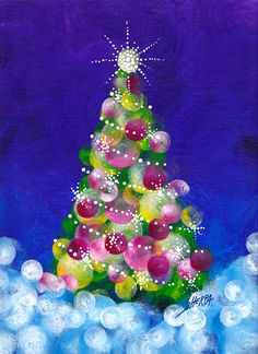 Easy Acrylic Christmas tree painting idea for beginners. Step by step from The Art Sherpa Home to 700 Free art lessons for beginners