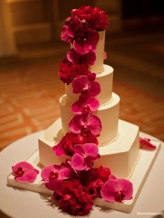 orchid wedding cake.