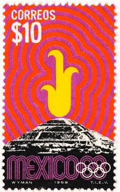 Lance Wyman, Olympic postage stamps for Mexico - Lance Wyman, estampas… Mexico Olympics, 1968 Olympics, Summer Olympics, Postage Stamp Design, Postage Stamps, Mexico 68, Standard Poster Size, Stamp Collecting, Olympic Games