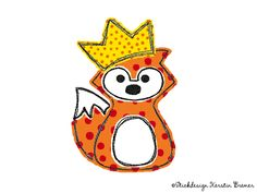 Prinz oder Prinzessin? Rene Fuchs mit Krone Doodle Stickmuster. Little prince or princess? Doodle fox appliqué embroidery file for embroidery machines.