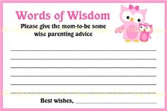 Printable Pink Owl with Little Girl Owl 2 Baby Shower Word of Wisdom Advice Cards Owl Shower, Shower Time, Shower Ideas, Tiffany Baby Showers, 2nd Baby Showers, Baby Shower Wording, Baby Shower Games, Babyshower, Pink Owl