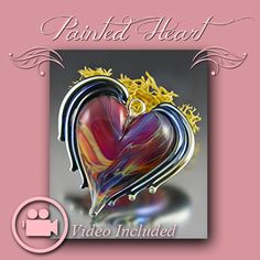 NEW Tutorial  Lampwork Glass  Painted Winged Heart by ShariSlonski, $24.95