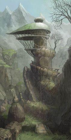 Goblin home or fairy dome [strange fantasy house by ~OgaTakeshi on deviantART] Fantasy City, Fantasy House, Fantasy Places, High Fantasy, Fantasy World, Environment Concept Art, Environment Design, Fantasy Landscape, Landscape Art