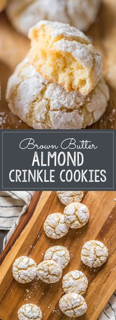 Chocolate Crinkle Cookies, Chocolate Crinkles, Peppermint Crinkle Cookies Recipe, Köstliche Desserts, Delicious Desserts, Dessert Recipes, Almond Meal Cookies, Yummy Cookies, Brown Butter Cookies