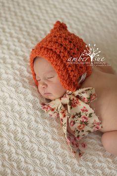 Baby Girl Bonnet - Vintage Style - Crochet Bonnet - Newborn Photo Prop. $19.50, via Etsy.