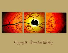 Oil Painting Love Birds On Sunset Triptych by ArtonlineGallery, $180.00