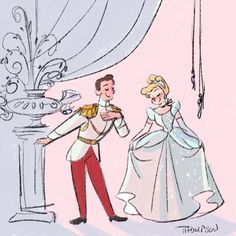 "Cinderella ""So this is love"" by Steve Thompson Disney Pixar, Walt Disney, Disney Mode, Animation Disney, Cute Disney, Disney Dream, Disney And Dreamworks, Disney Style, Disney Magic"