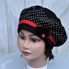 Chapeau béret femme laine noir à pois blanc et rouge Taille 56-57cm de la boutique Leolix sur Etsy