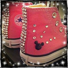 Minnie Mouse bling converse on Etsy, $75.00 Bling Converse, Painted Shoes, Christmas Wishes, Chuck Taylor Sneakers, Future Baby, Pretty Little, Minnie Mouse, Bows, Crafty