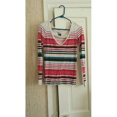 American Eagle Multi Color Long Sleeved Top S Worn a few times. Good condition, light pilling. American Eagle Outfitters Tops Tees - Long Sleeve