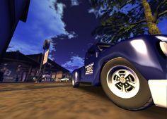 blue car (depth of field rendering photo)
