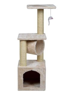 This 36'' cat tree with scratching posts will provide your cat with a place to have fun, exercise, explore, scratch and just relax. There are two different locations for them to relax: condo and tunne