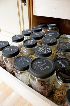 Jars: wash, peel off label, paint top with chalkboard paint. Brilliant.