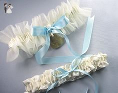 Personalized Ivory Tulle Wedding Garter Set with a Something Blue Bow and Personalized Engraving - Bridal fashion accessories (*Amazon Partner-Link)