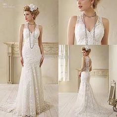 Vintage lace v-neck backless sleeveless beads sheath wedding dresses