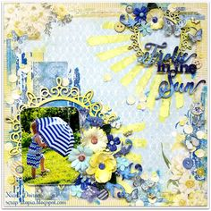Frolic In The Sun mixed media layout by Nicole Doiron