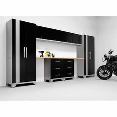 Garage Cabinet Set Storage Wall System 10 Piece Steel Bamboo Worktop Organize #NewAge