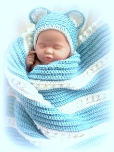 Snuggle Bear Blanket And Hat Set For Baby Boy Or Girl