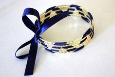 ribbon woven through bangle bracelets