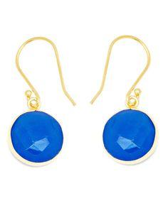 Blue Chalcedony & Gold Round-Cut Drop Earrings