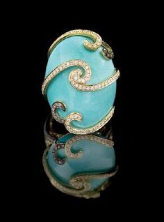 18 Kt. Gold, Turquoise and Diamond Ring