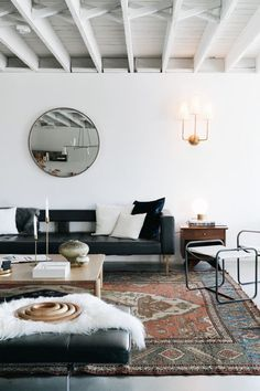 eclectic living room with high ceilings