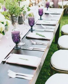 @Premiere_rents' Tuscan Tables were topped with colorful Purple Lexi Glasses timeless Charlotte Wine Glasses Silver Plated Flatware and beautiful centerpieces on lavender linen runners. || Planning & Design: @lyndenlane | Venue: @saddlerockranch_events | Photography: @sargeantcreative | Catering: @contemporarycatering | Rentals: @premiere_rents | Linens: @latavolalinen | Lighting: @ambereventprod | Florals: @keithjlaverty | Rentals: @foundrentals | Calligraphy: @kakalligraphy | Menus…