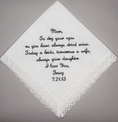 Gift From The Bride Wedding Handkerchief By Inspiredsches 23 00 Farm