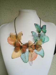I Will Fly Away - Handmade Orange and Aqua Silk Organza Butterflies and Wings Necklace by TheButterfliesShop on Etsy