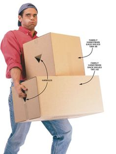 """DIY Tip of the Day: Cardboard box handler. If there's nowhere to grab it, moving a box can be awkward and put needless strain on your back. To make the task easier, cut a """"V"""" in each end of the box and fold it in to make box handles. - Ted G. Miller"""