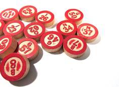 Bingo Game Pieces VINTAGE BINGO Chips Sixteen (16) Wooden Bingo Pieces Vintage Art Assemblage Collage Mosaic Supplies Game Pieces (N96) by punksrus on Etsy