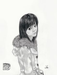 A drawing I made for Kamei Eri 's birthday a couple of years ago. She had already graduated from Morning Musume at this time so finding pictures of her was kind of tough, but luckily not impossible.