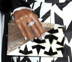 Janelle Monáe carrying the Emm Kuo 'Gehry' geometric clutch